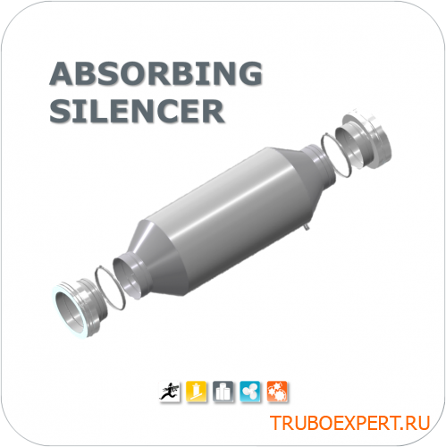ABSORBING SILENCER with inner coulisse, Length 1,0 DN250mm